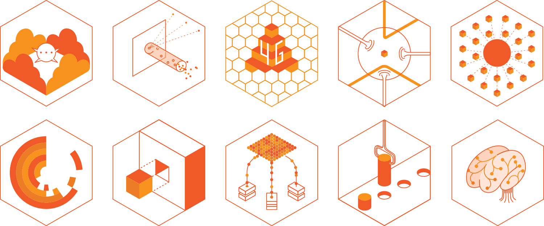 VoIPConsult – ícones para serviços prestados pela marca e tecnologias representadas por ela